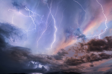Low angle view of lightning in dramatic sky