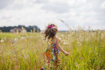 Rear view of girl with running on grassy field against sky