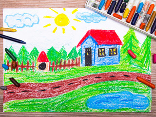 oil pastels drawing : country house