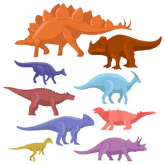 Different type of cartoon dinosaurs cute monster set. Dinosaur cartoon collection prehistoric character tyrannosaurus funny animal. Vector