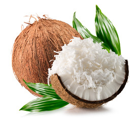 coconuts with coconuts flakes isolated on the white background