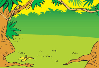 cartoon background with glade in the jungle