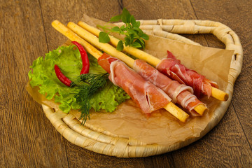 Bread sticks with serrano