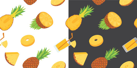 Vector seamless pattern with pineapples. Pineapple background