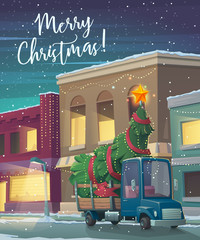 Christmas Holiday card. Cartoon truck with christmas tree. Retro truck carries christmas tree through town in snowy weather. Greeting card with fairy tale houses. Vector illustration.