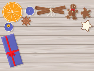 Top View of Christmas Still Life. Vector Flat Illustration,
