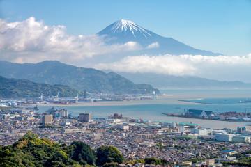 Mount Fuji and Shizuoka town from Nihondaira hill.