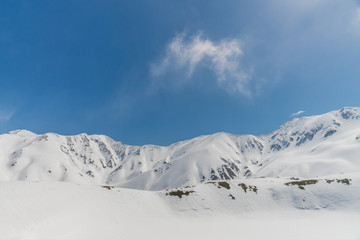 High mountains under snow with clear blue sky