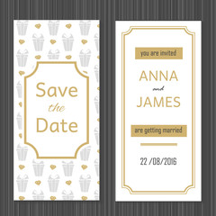 Modern Wedding invitation with a abstract design.