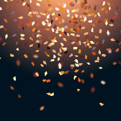 Golden confetti isolated on black background, vector illustration. Vector luxury backdrop with gold sparklers