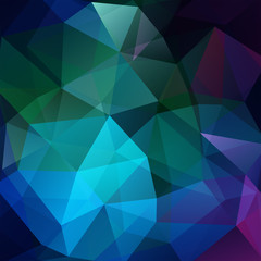 Abstract geometric style dark background. Green, blue colors. Vector illustration