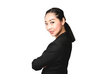 Confident Business Asian woman in black suit.