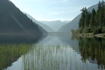 Magic sunrise on a mountain lake