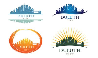 Duluth Minnesota City Building Panorama Landmark Logo Collection