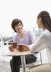 Couple having tea time