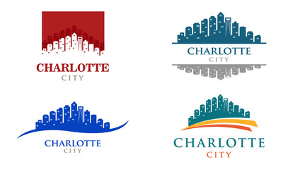 Charlotte City Carolina Cityscape Panorama Skyline Logo Illustration