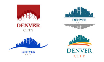 Denver City Colorado Cityscape Landscape Panorama Logo Illustration