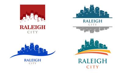 Raleigh City Carolina Cityscape Landscape Skyline Logo Illustration