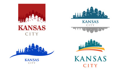 Kansas City Missouri Landscape Panorama Skyline Logo Illustration