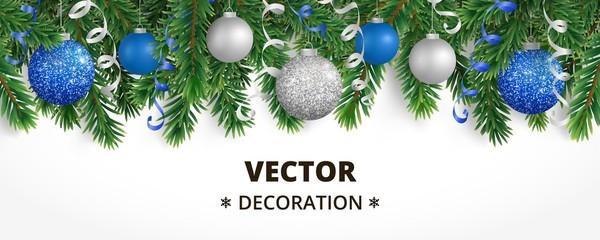 Horizontal christmas banner with fir tree garland, hanging balls