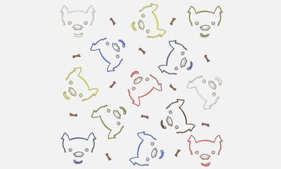Perros y huesos fondo dibujo a mano
