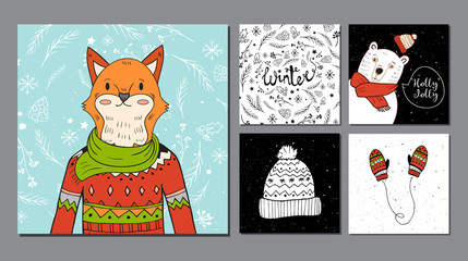 hand drawn fox portrait and winter background.