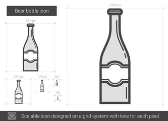 Beer bottle line icon.