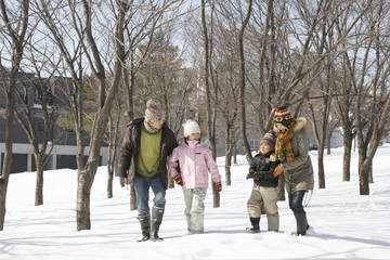 Family taking a walk in the snowfield