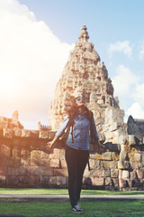 Young attractive woman enjoy life while traveling at phnom rung.