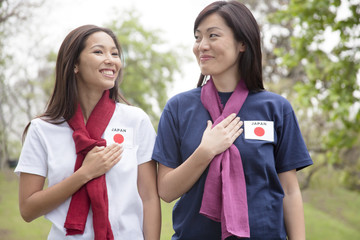 Young women supporting the Japan women's national football team