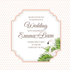 Wedding marriage event invitation RSVP card template. Border frame element with text placeholder. Exotic tropical flamingo bird and palm tree leaves. Simple classic polka dot background.