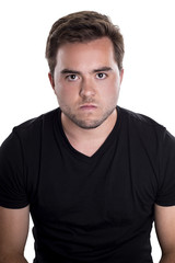 Face of an angry and furious male on a white background