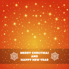 Christmas and New Year Greeting Card with Stars and Snowflakes in Xmas eve. Template vector concept.