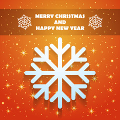Christmas and New Year Greeting Card with Snowflake and Stars in Xmas eve. Template vector concept.
