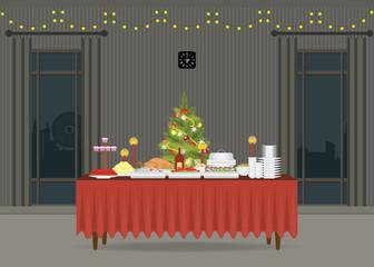 Christmas food on the table Decorating with Christmas tree.