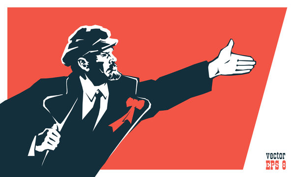 Lenin - leader of the October socialist revolution of 1917 in Russia. Styled like an old Soviet poster. Vector illustration