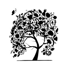 Floral tree, black silhouette for your design