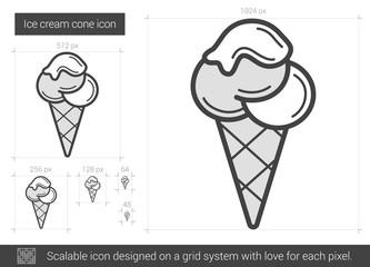Ice cream cone line icon.