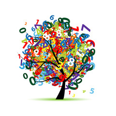 Tree with colorful numbers for your design