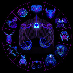 Neon horoscope circle with signs of zodiac. Set astrology signs. Libra.