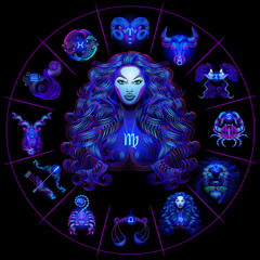 Neon horoscope circle with signs of zodiac. Set astrology signs. Virgo.