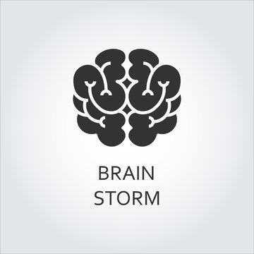 Vector black icon brain in flat style. Brainstorm concept logo.