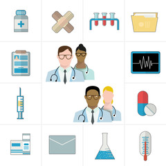 Medical and pharmaceutical or pharma icons. Thermometer, tablets