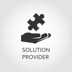 Vector black flat icon solution provider as hand giving puzzle.