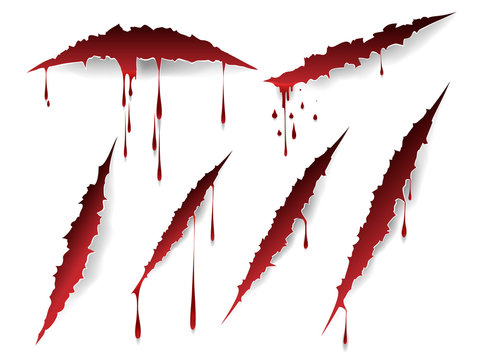 Vector bloody scratches and blood drops isolated on white background