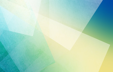textured transparent white triangle and rectangle shapes layered in abstract pattern on blurred bright blue yellow and green background colors