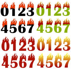 Burning Numbers Isolated on White Background. One Two Three Figures in Fire