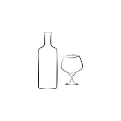Black and white bottle with glass. Icon on the white background