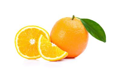 Oranges fruit, slices of oranges isolated on white background