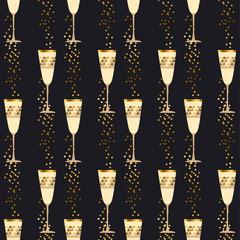 elegant light seamless pattern with sparkling wine glasses on bl
